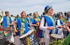 Samba drummers, Jack In The Green Royalty Free Stock Image