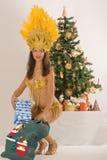 Samba girl from Santa Claus with sack Royalty Free Stock Photos
