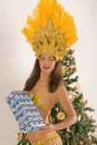 Samba girls with Christmas parcels Royalty Free Stock Image