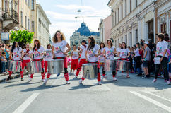 Samba group on street performance playing on drums. CLUJ-NAPOCA, ROMANIA - MAY 27, 2017: Samba group on street performance playing on drums Stock Photo