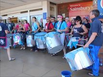 Samba pelo mar drummers stock video footage