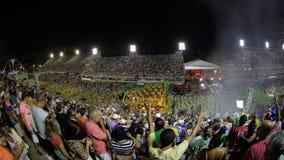 Samba School Scene alla parata dello stadio di carnevale di Sambodromo Fotografie Stock Libere da Diritti