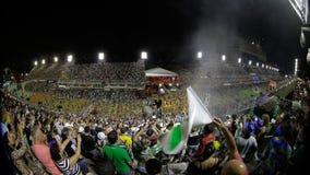 Samba School Scene alla parata dello stadio di carnevale di Sambodromo Immagini Stock Libere da Diritti