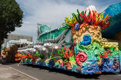 Samba School Vehicle i Rio de Janeiro arkivfoton