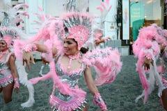 Samba taniec w Bucharest festiwalu Stradal teatr 2015 z Santa Cruz grupą Zdjęcia Stock