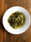 Sambal hijau indonesia on the wood table Royalty Free Stock Images