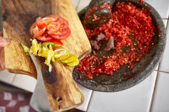 Sambal and its additional ingredient Stock Photo