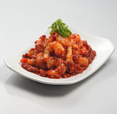 Sambal prawns. Delicious plate of sambal prawns Royalty Free Stock Images