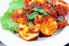 Sambal Telur - malajiska traditionell kokkonst Arkivbild