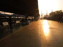 Sambalpur railway station. Morning view of station platform of Sambalpur junction of Odisha Royalty Free Stock Images