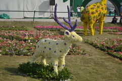 Sambar deer statue flower art Royalty Free Stock Photography