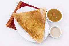 Sambar di Dosa con il chutney della noce di cocco Fotografie Stock