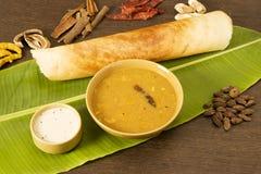 Sambar Dosa con gli ingredienti Fotografie Stock Libere da Diritti