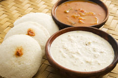 Sambar idli with Coconut Chutney Stock Images