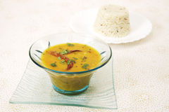 Sambar with rice. South Indian Dish Royalty Free Stock Images