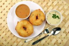 Sambarvada een Zuiden Indisch populair voedsel, Hoogste mening stock afbeelding