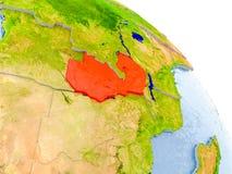 Sambia im roten Modell von Erde Lizenzfreie Stockbilder