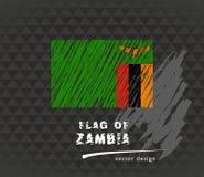 Sambiaflagge, gezeichnete Illustration der Vektorskizze Hand auf dunklem Schmutzhintergrund stock abbildung