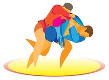 Sambo de worstelaar gaat een opponent& x27 over; s werpt door de dij Stock Fotografie