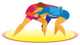 Sambo de worstelaar valt zijn tegenstander aan Stock Afbeelding