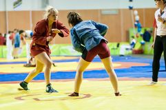 Sambo ou autodefesa sem armas. Meninas das competições… … Imagem de Stock Royalty Free