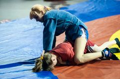 Sambo or Self-defense without weapons. Competitions girls Royalty Free Stock Image