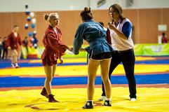 Sambo or Self-defense without weapons. Competitions girls. Stock Images