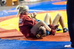 Sambo or Self-defense without weapons. Competitions girls. Royalty Free Stock Photo