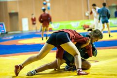Sambo or Self-defense without weapons. Competitions girls... Stock Photos