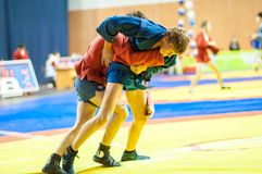 Sambo or Self-defense without weapons. Junior competitions Royalty Free Stock Photo