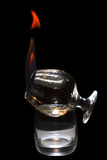 Sambuca flamejante em um vidro isolado Imagens de Stock