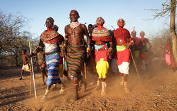 Samburu dancers in Archers Post, Kenya. Royalty Free Stock Images