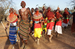 Samburu dancers in Archers Post, Kenya. Stock Photos