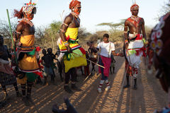 Samburu dancers in Archers Post, Kenya. Stock Image