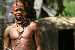 Samburu Man, Samburu Kenya. Samburu Man in Samburu Kenya, East Africa. Taken by permission though he was illiterate and could not read nor sign a release Royalty Free Stock Photo