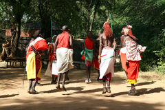 Samburu tribe jumping Stock Photography