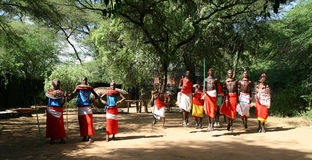 Samburu tribe jumping Stock Images