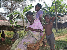 Samburu woman weaving rattan Stock Images