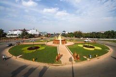 Samdach chounnatlag i pagod för Cambodja självständighetsdagenRoyal Palace silver Royaltyfri Fotografi