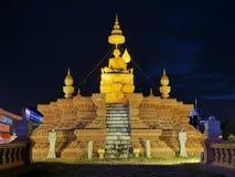 2017-01-03 Samdech Chuon Nath statua, Phnom Penh Kambodża, statua przy noc artykułem wstępnym Obrazy Stock