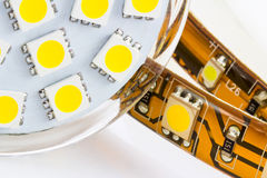 The same 3-chip LEDs on strip and bulb GU10 Stock Images
