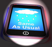 Same As Usual On Phone Displays No Change In The Weather Stock Photos