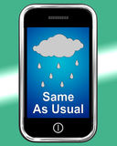 Same As Usual On Phone Means No Change In The Weather Stock Photo