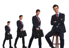 Same business man in different stages of career evolution Royalty Free Stock Photos