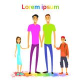 Same Couple Gay Man Family with Kids Colorful Stock Photography