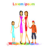Same Couple Lesbian Woman Family with Kids Royalty Free Stock Photos