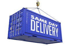 Same Day Delivery on Blue Cargo Container. Stock Photography