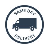 Same day delivery button. On white background. Vector illustration Stock Photography