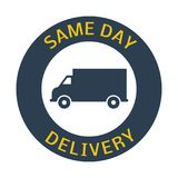 Same day delivery button. On white background. Vector illustration Stock Photos
