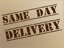 Same Day Delivery Indicates Fast Shipping And Distributing Royalty Free Stock Image